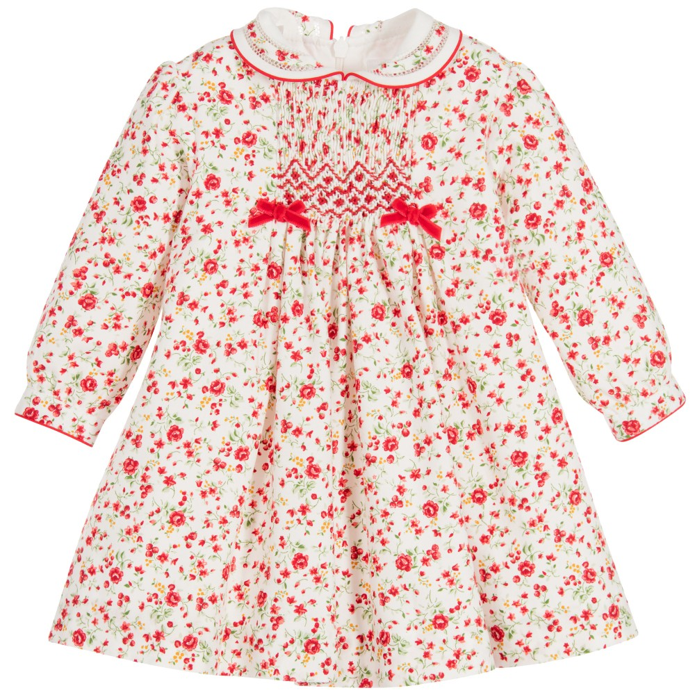 1a4d28cfe Baby Girls Red Floral Hand Smocked Dress | Sarah Louise | Coccolino