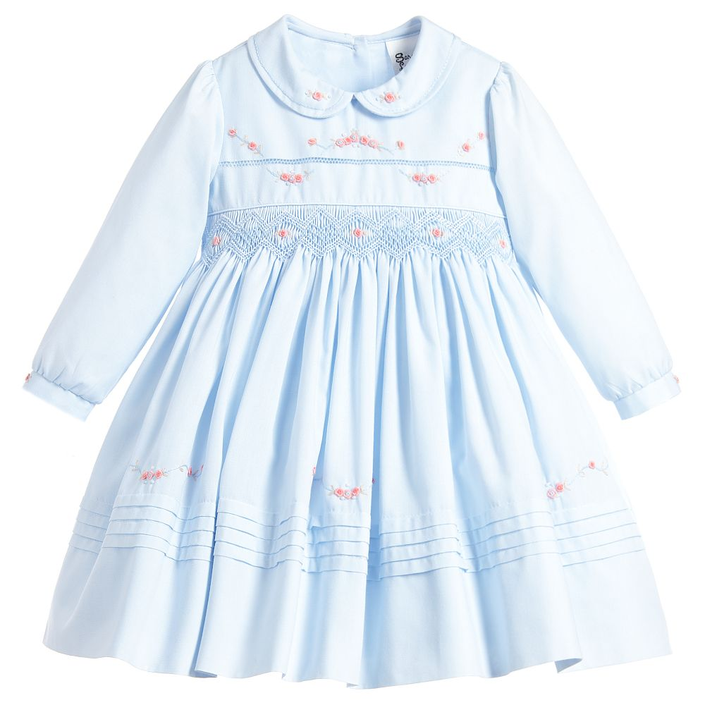 cd23937dc Girls Blue Hand Smocked Dress | Girls, Sarah Louise, Sarah Louise ...